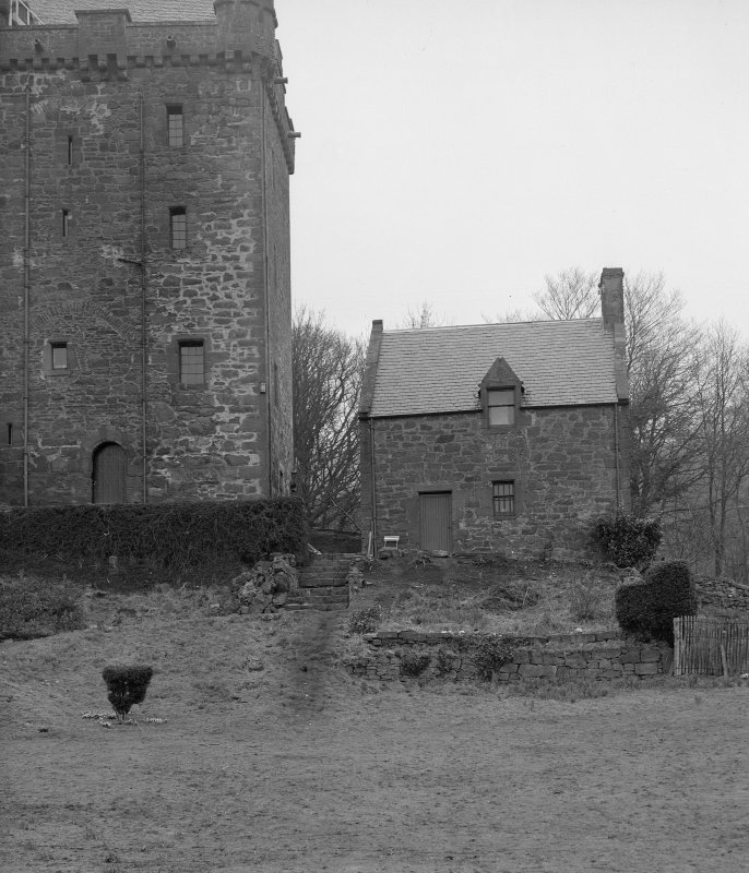 Kinnaird Castle. View of gabled kitchen block.