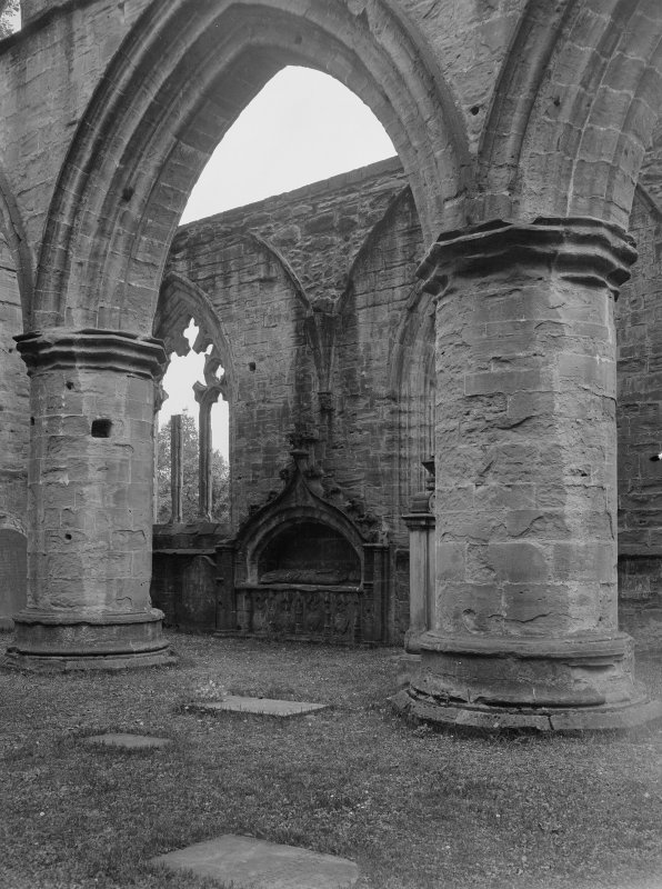 Dunkeld, Dunkeld Cathedral, interior. View of nave from North-West with Bishop Gardney's tomb.