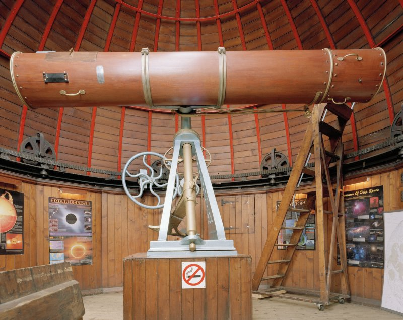 Interior view of Observatory, Stirling Academy, showing view of telescope.