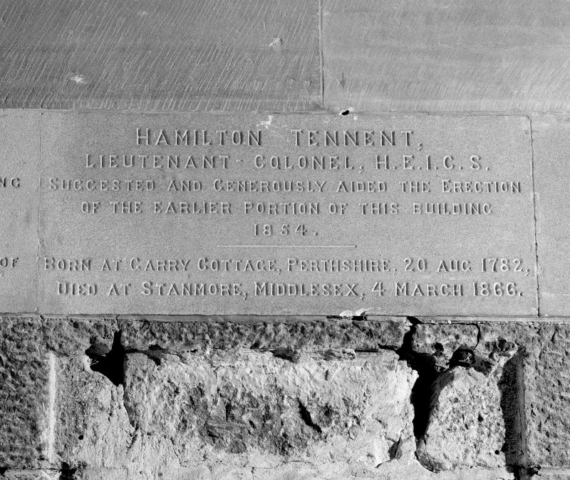 "Detail of commemorative plaque with inscription ""Hamilton Tennent. Lieutenant-Colonel, H.E.I.C.S. Suggested and Generously Aided the Erection of the Earlier Portion of This Building. 1854.[...]"""