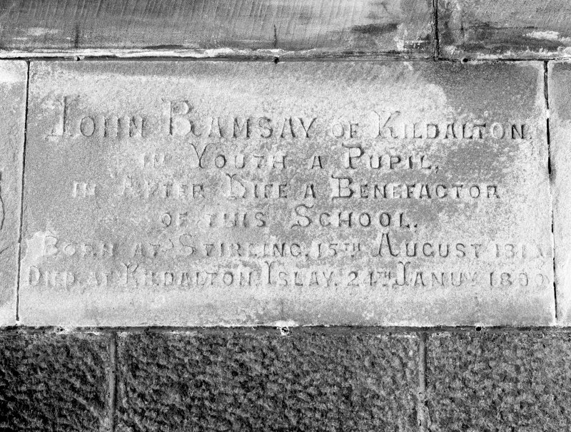 "Detail of commemorative plaque with inscription ""John Ramsay of Kildalton. In Youth a Pupil. In After Life a Benefactor of This School.[...]"""