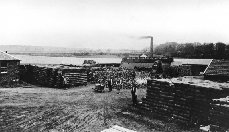 Kilchattan Brick and Tile Works.  View of the works with workers from South.