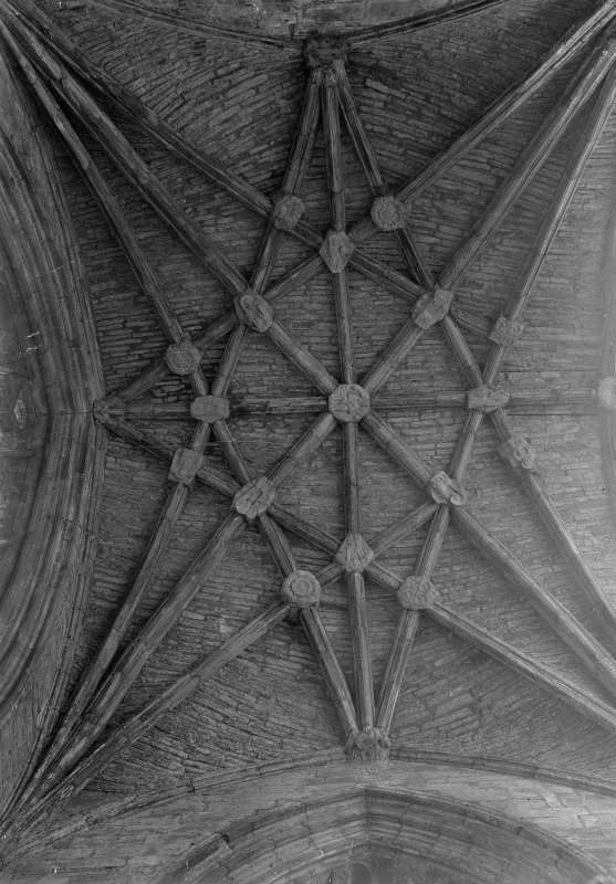 Detail of chancel ceiling. Melrose Abbey.