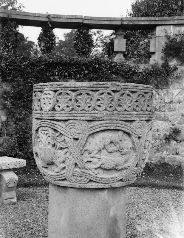 Minto House. Detail of font in garden