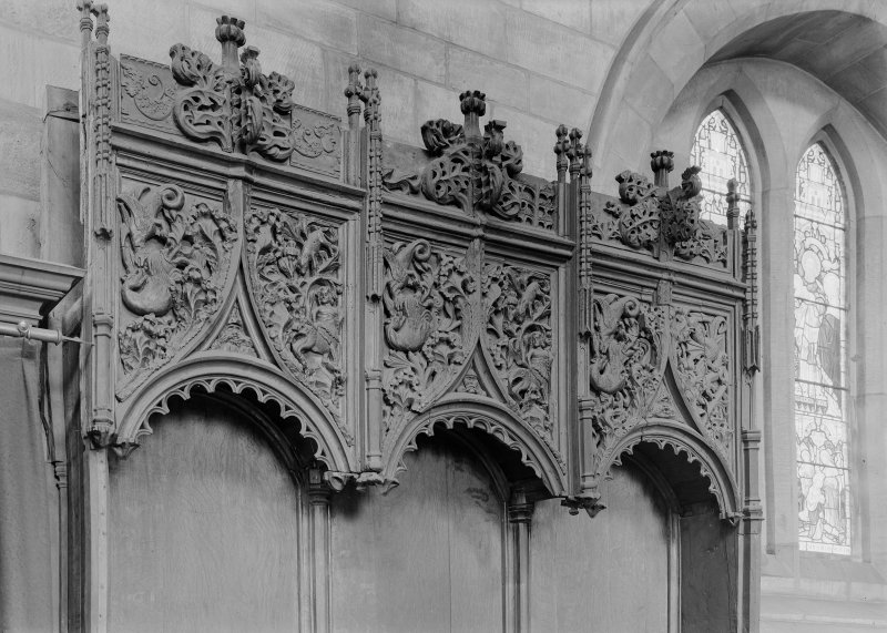 Choir, detail of stall canopies.