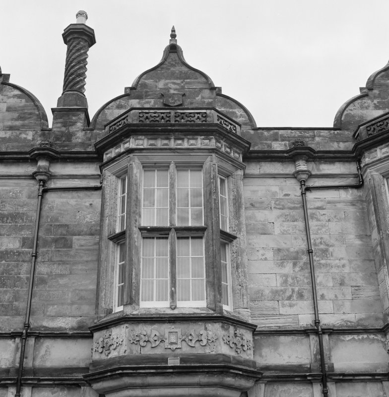 Detail of chimney and gable on South face of North block