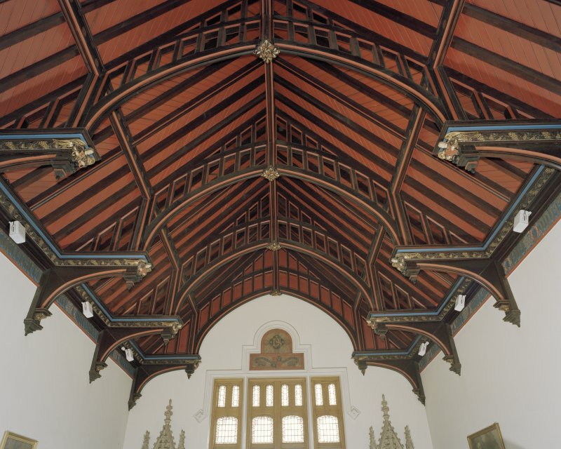 Interior view of ceiling in libary on first floor from N, Daniel Stewart's and Melville College, Edinburgh.