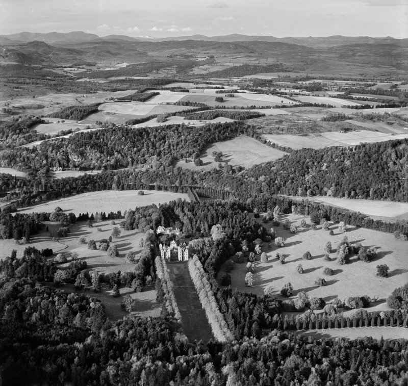 Murthly Castle and New Murthly Castle.  Oblique aerial photograph taken facing north.