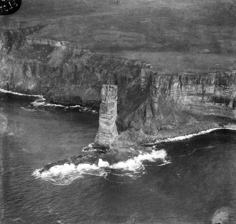 Old Man of Hoy, Orkney.  Oblique aerial photograph taken facing east.