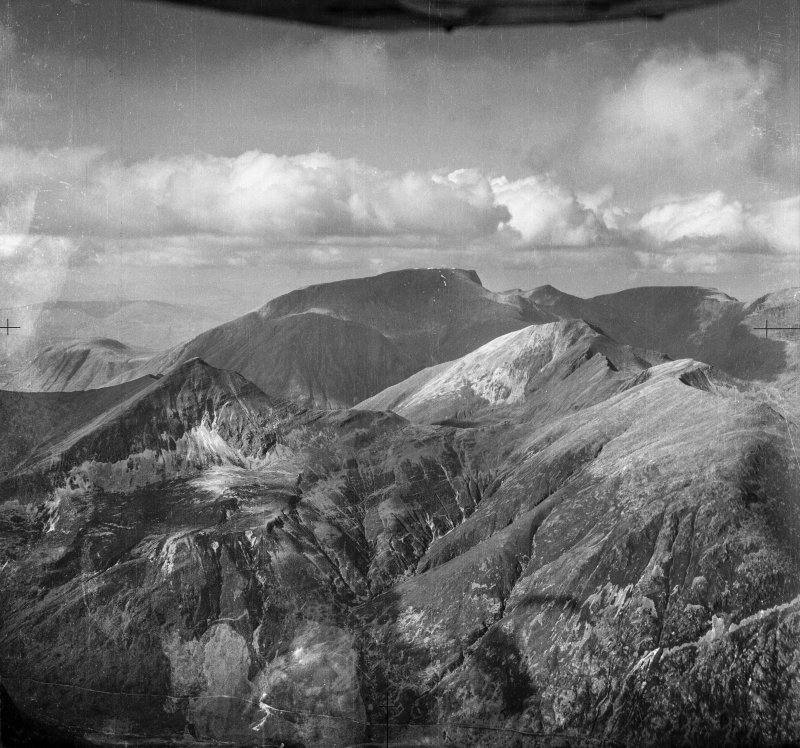 Stob Ban, Sgurr a' Mhaim and Ben Nevis.  Oblique aerial photograph taken facing north.