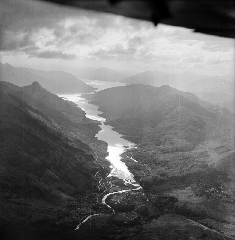Loch Leven and Mam na Gualainn.  Oblique aerial photograph taken facing west.