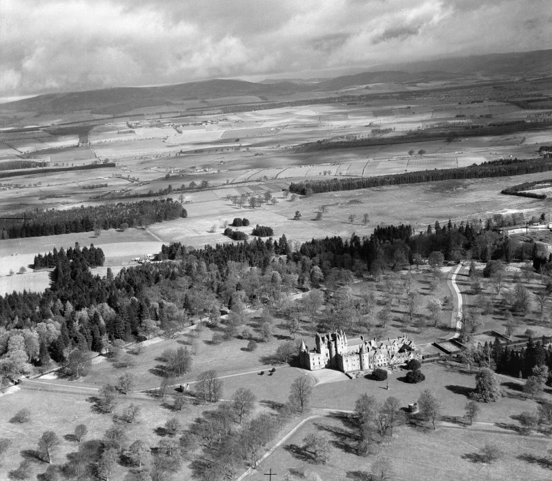 Glamis Castle.  Oblique aerial photograph taken facing north.