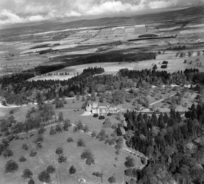 Glamis Castle.  Oblique aerial photograph taken facing north-west.