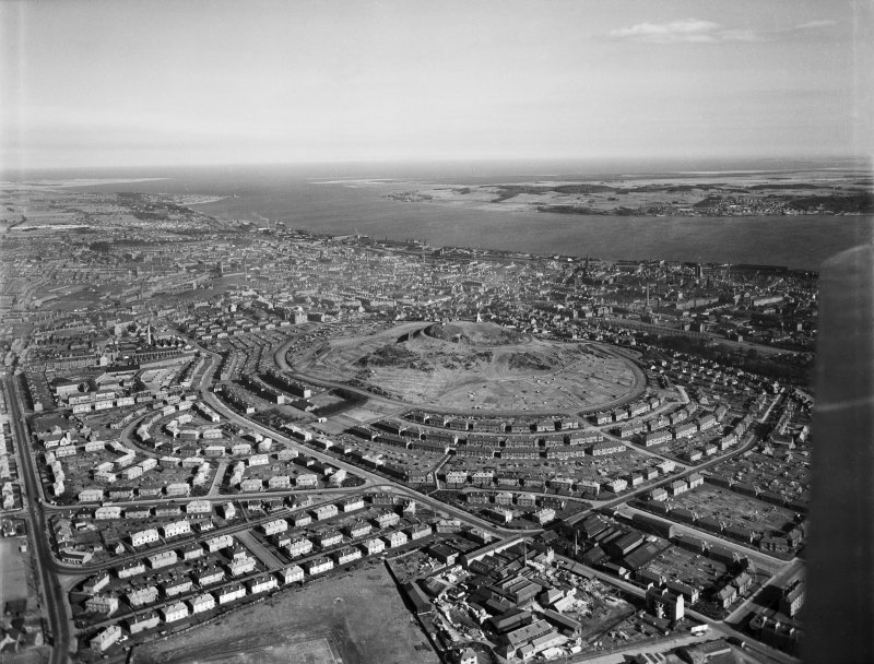 Dundee, general view, showing Dundee Law and Firth of Tay.  Oblique aerial photograph taken facing south-east.