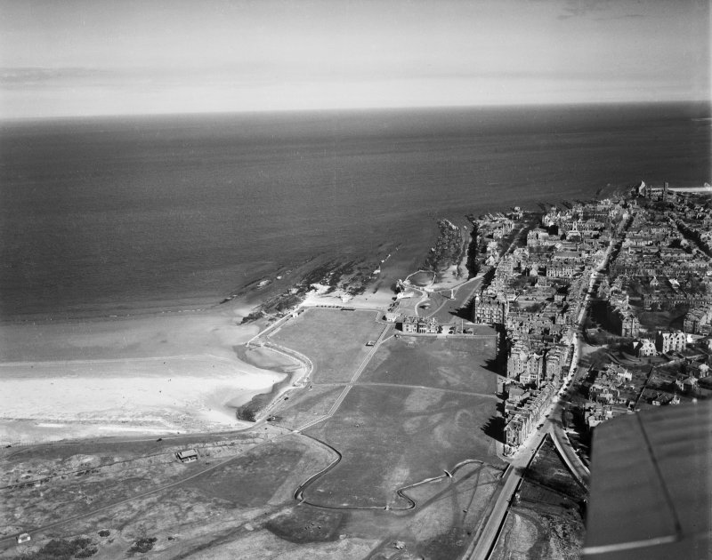 The Old Course, The Links, St Andrews.  Oblique aerial photograph taken facing east.