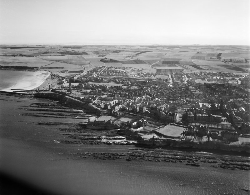 St. Andrews, general view, showing Castlecliffe House, The Scores and St Andrews Cathedral.  Oblique aerial photograph taken facing south.