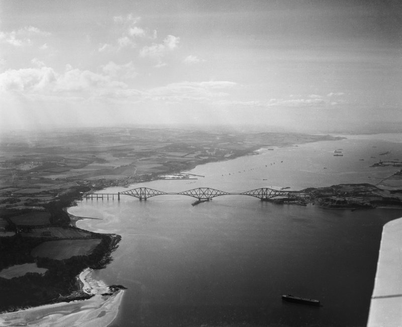 Forth Rail Bridge, Firth of Forth and Queensferry.  Oblique aerial photograph taken facing west.