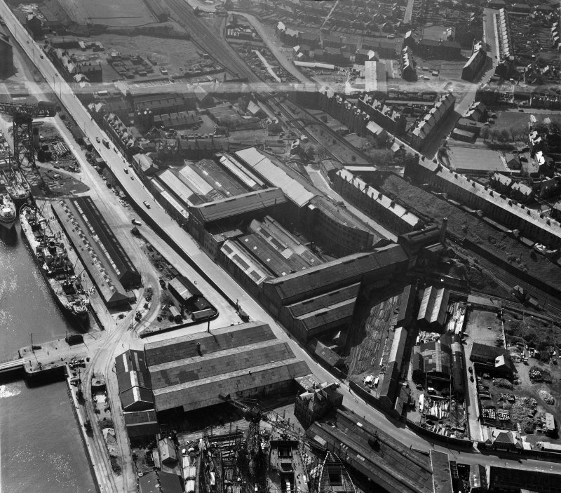 John G Kincaid and Co. Ltd. Clyde Foundry and Engine Works, East Hamilton Street, Greenock.  Oblique aerial photograph taken facing south-east.  This image has been produced from a crop marked negativ ...
