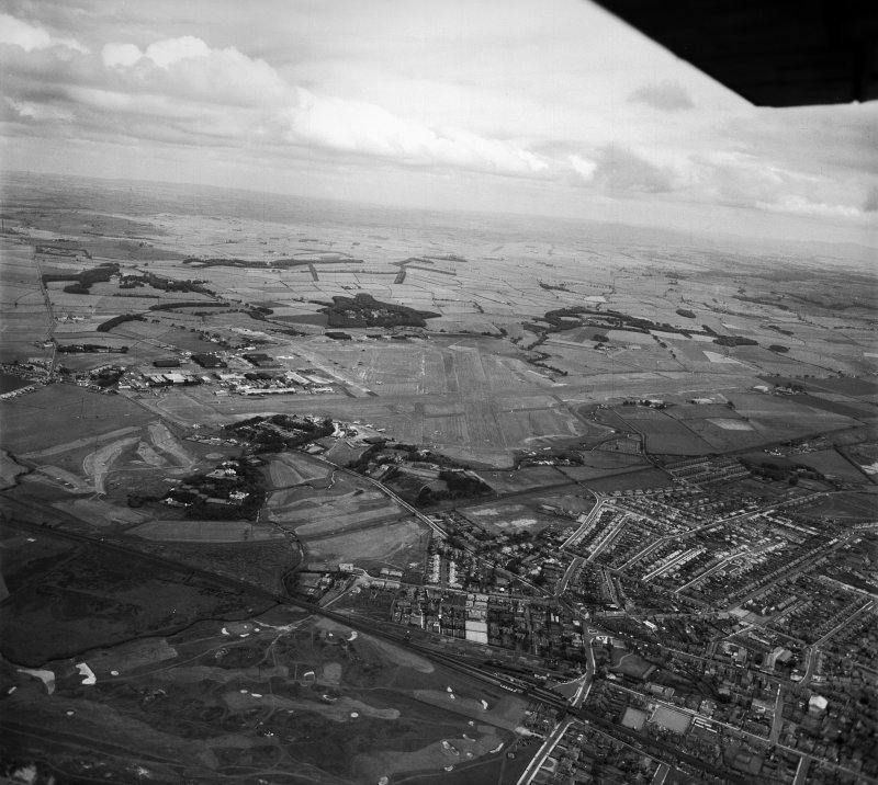 Prestwick Airport.  Oblique aerial photograph taken facing east.