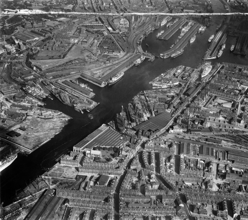 Glasgow, general view, showing Queen's Dock and Harland and Wolff Shipbuilding Yard, Clydebrae Street, Govan.  Oblique aerial photograph taken facing east.  This image has been produced from a crop marked negative.
