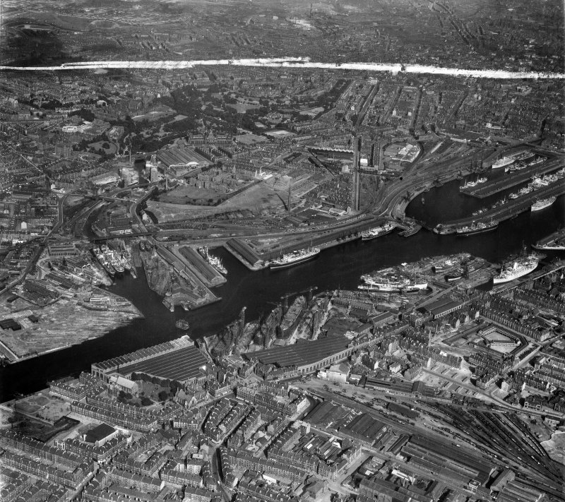 Glasgow, general view, showing Yorkhill Quay and Harland and Wolff Shipbuilding Yard, Clydebrae Street, Govan.  Oblique aerial photograph taken facing east.  This image has been produced from a crop marked negative.