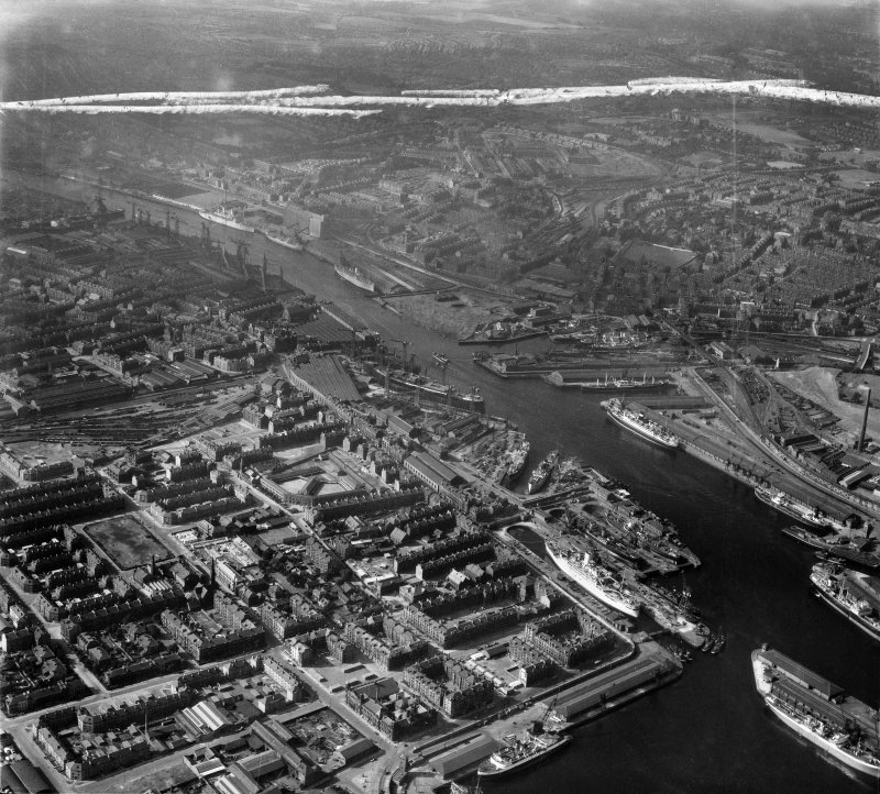Glasgow, general view, showing Harland and Wolff Shipbuilding Yard, Clydebrae Street, Govan and Castlebank Street.  Oblique aerial photograph taken facing north.  This image has been produced from a crop marked negative.