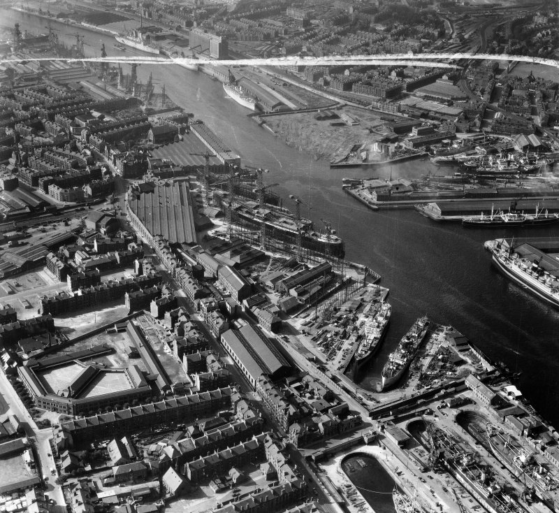 Harland and Wolff Shipbuilding Yard, Clydebrae Street, Govan, Glasgow.  Oblique aerial photograph taken facing north.  This image has been produced from a crop marked negative.