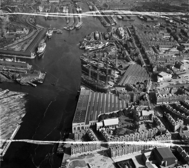 Harland and Wolff Shipbuilding Yard, Clydebrae Street, Govan, Glasgow.  Oblique aerial photograph taken facing east.  This image has been produced from a crop marked negative.