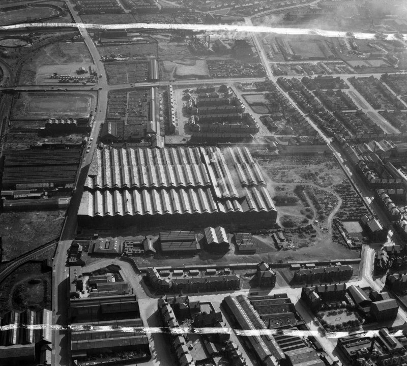 Harland and Wolff Clyde Foundry, 184 Helen Street, Govan, Glasgow.  Oblique aerial photograph taken facing south-west.  This image has been produced from a crop marked negative.
