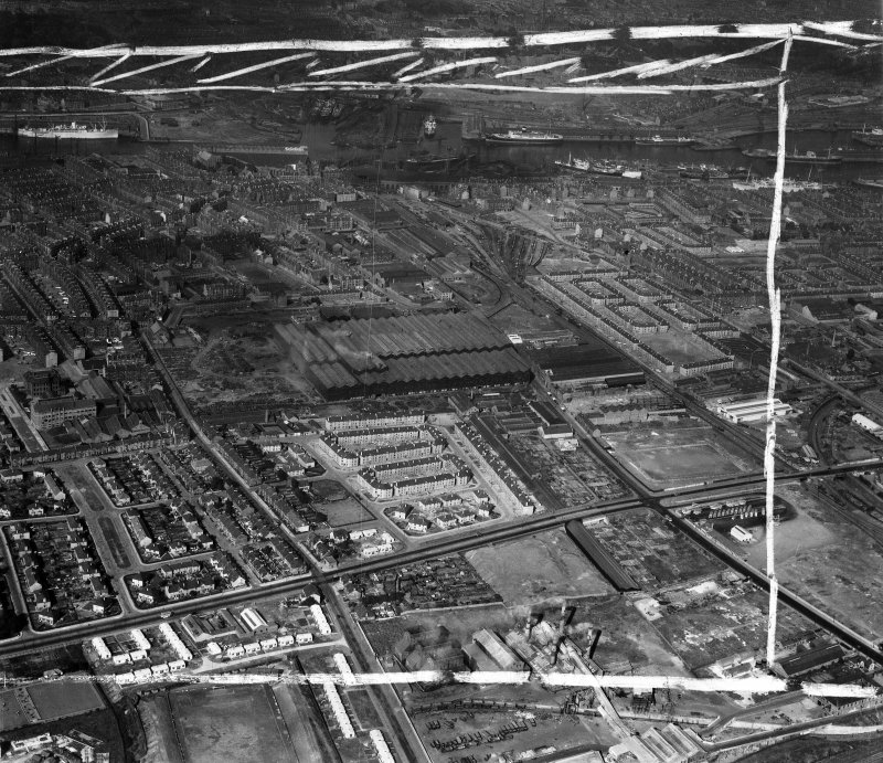 Glasgow, general view, showing Harland and Wolff Clyde Foundry, 184 Helen Street and Shieldhall Road, Govan.  Oblique aerial photograph taken facing north-east.  This image has been produced from a cr ...