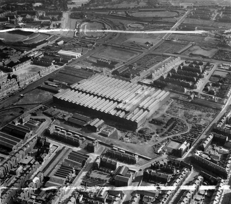 Harland and Wolff Clyde Foundry, 184 Helen Street, Govan, Glasgow.  Oblique aerial photograph taken facing south.  This image has been produced from a crop marked negative.
