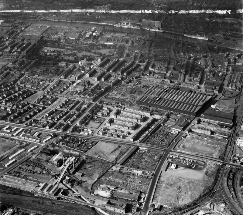 Glasgow, general view, showing Harland and Wolff Clyde Foundry, 184 Helen Street and Refuse Destruction and Electric Works, Govan.  Oblique aerial photograph taken facing north.  This image has been produced from a crop marked negative.