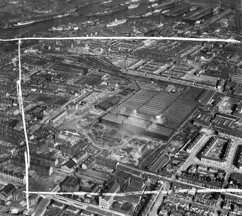 Glasgow, general view, showing Harland and Wolff Clyde Foundry, 184 Helen Street, Govan and Prince's Dock.  Oblique aerial photograph taken facing east.  This image has been produced from a crop marked negative.