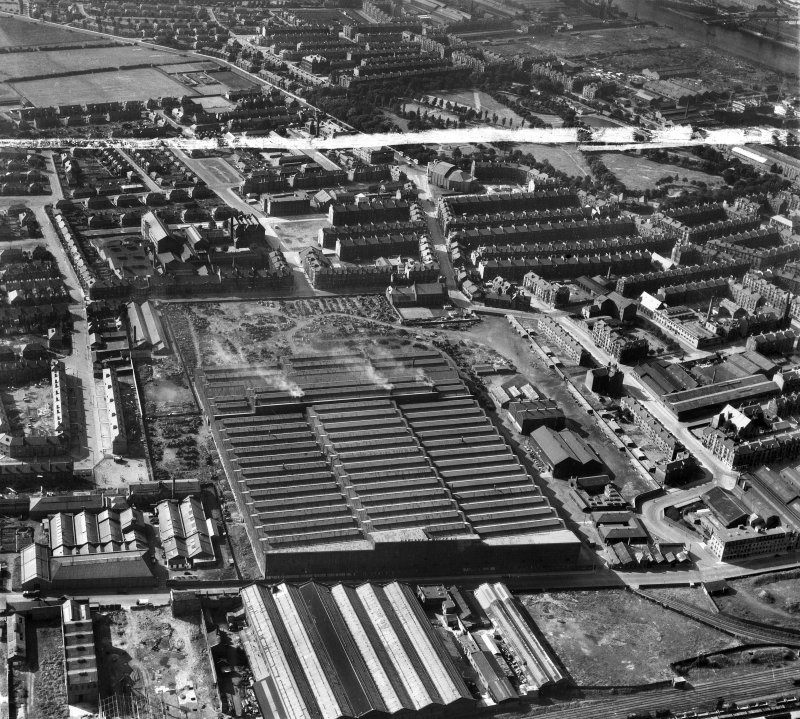 Harland and Wolff Clyde Foundry, 184 Helen Street, Govan, Glasgow.  Oblique aerial photograph taken facing north-west.  This image has been produced from a crop marked negative.