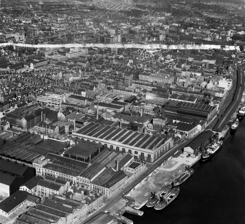 Glasgow, general view, showing Harland and Wolff Diesel Engine Works, 181 Lancefield Street and Lancefield Quay.  Oblique aerial photograph taken facing east.  This image has been produced from a crop ...
