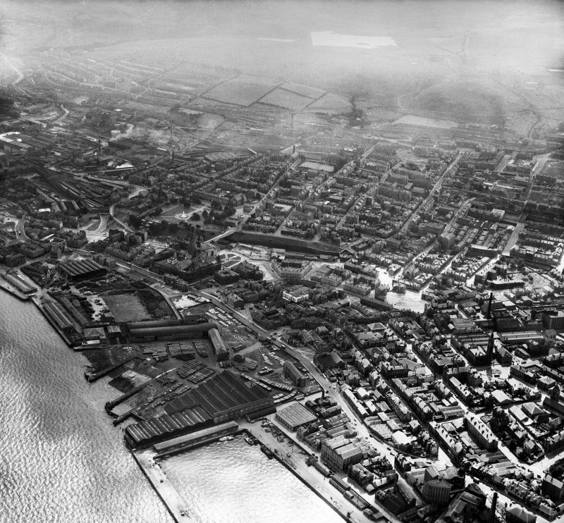 Greenock, general view, showing Dalrymple Street and Well Park.  Oblique aerial photograph taken facing south.