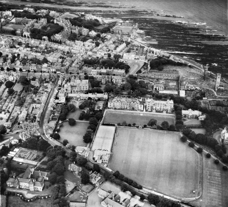 St Andrews, general view, showing St Leonard's School and St Andrews Cathedral.  Oblique aerial photograph taken facing north.