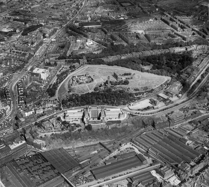 Edinburgh, general view, showing Calton Hill and Leith Walk.  Oblique aerial photograph taken facing north.