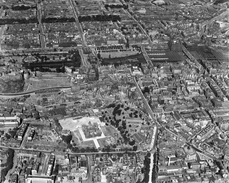 Edinburgh, general view, showing George Heriot's School and Waverley Station.  Oblique aerial photograph taken facing north.