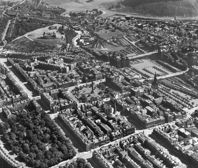 Edinburgh, general view, showing St Andrew Square and Calton Hill.  Oblique aerial photograph taken facing east.