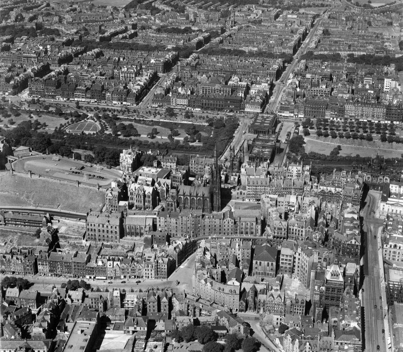 Edinburgh, general view, showing Highland Church of Tolbooth St John's and Hanover Street.  Oblique aerial photograph taken facing north.