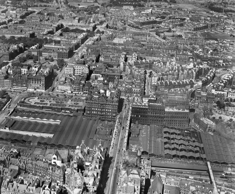Edinburgh, general view, showing Waverley Station and General Register House.  Oblique aerial photograph taken facing north.