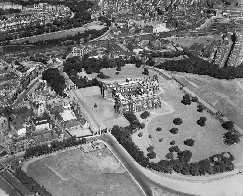 Palace of Holyroodhouse, Edinburgh.  Oblique aerial photograph taken facing north.