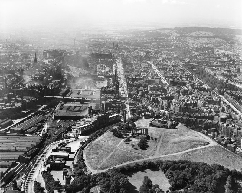 Edinburgh, general view, showing Calton Hill and Princes Street.  Oblique aerial photograph taken facing west.