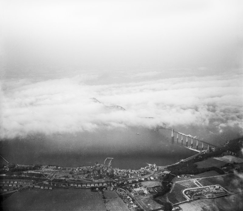 Firth of Forth, general view, showing Queensferry and Forth Rail Bridge.  Oblique aerial photograph taken facing north.