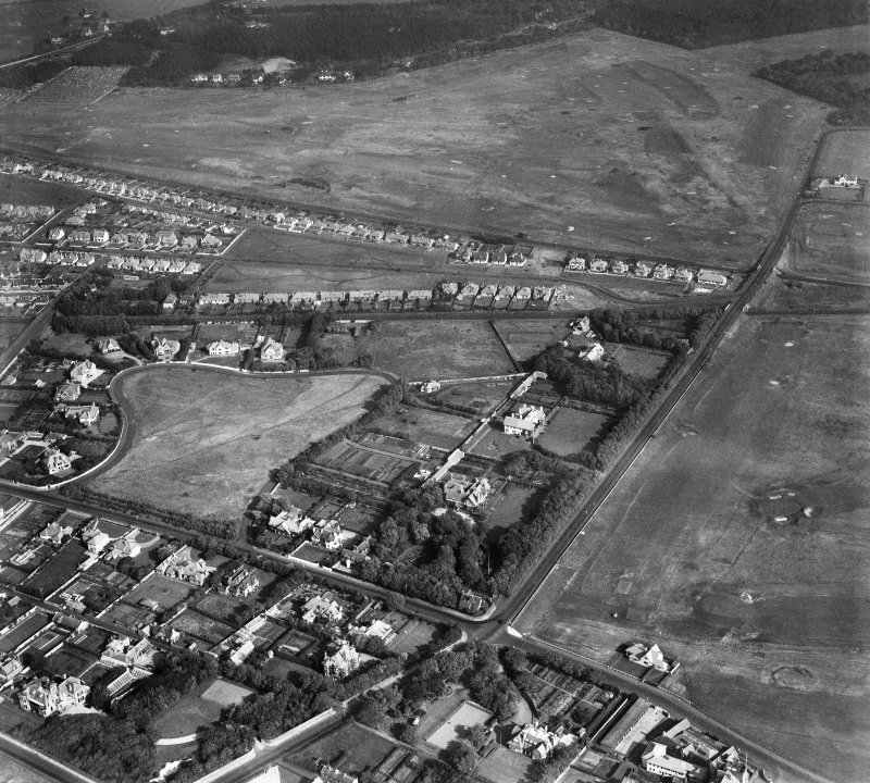 Troon, general view, showing Bentinck Crescent and Lochgreen Golf Course.  Oblique aerial photograph taken facing north-east.