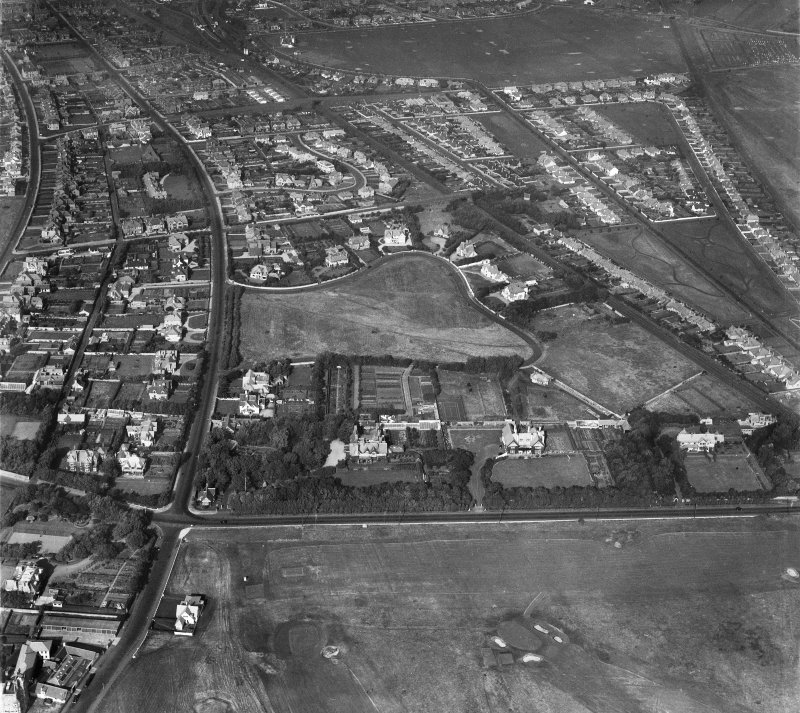 Troon, general view, showing Craigend Road and Bentinck Drive.  Oblique aerial photograph taken facing north.