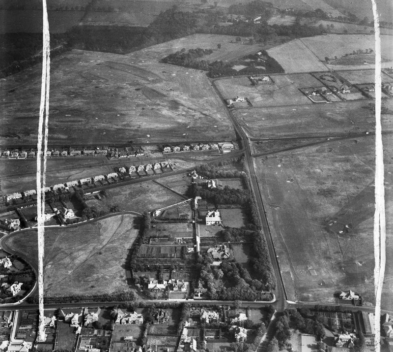 Troon, general view, showing Craigend Road and Lochgreen Golf Course.  Oblique aerial photograph taken facing east.  This image has been produced from a crop marked negative.