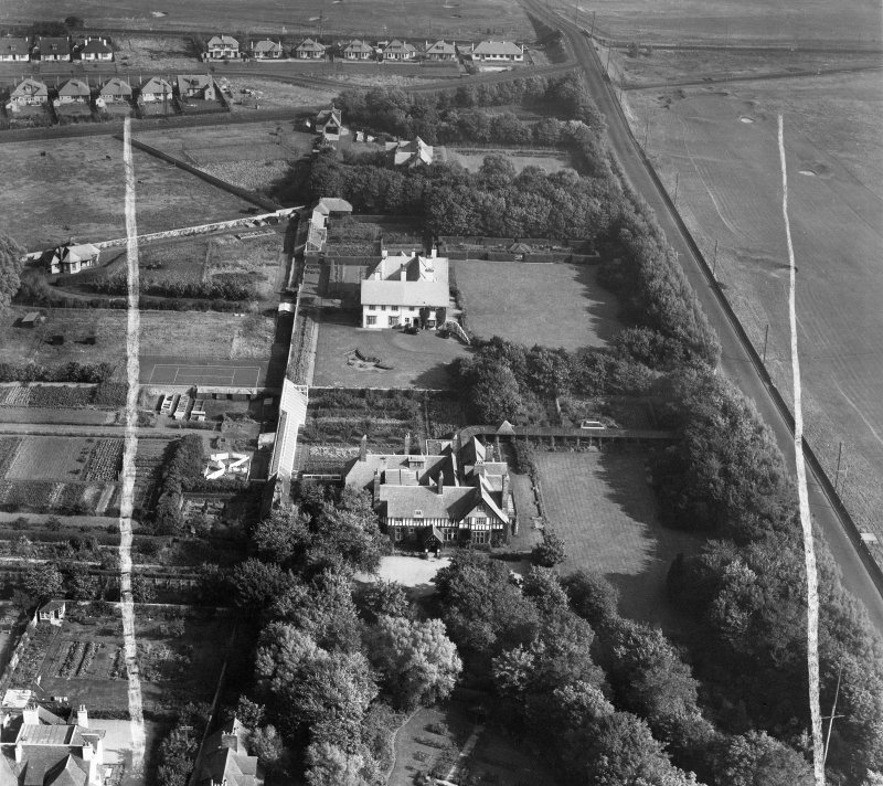 Piersland, Craigend Road, Troon.  Oblique aerial photograph taken facing east.  This image has been produced from a crop marked negative.