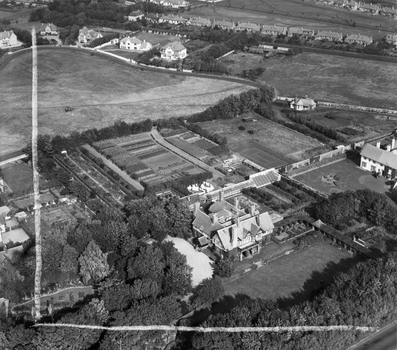 Piersland, Craigend Road, Troon.  Oblique aerial photograph taken facing north.  This image has been produced from a crop marked negative.